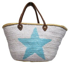 French Market Basket Sparkling Sequin & Leather Bag Star White & Matte Teal