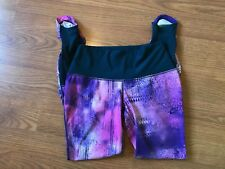 Nike Girls Dri Fit Yoga Leggings Knit Ribbed Ankle Purple Pink Size S Small