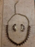 Vintage Set Brown Butterflies Rainbow Crystals Clip On Earrings & Necklace 1940s