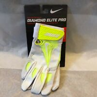 Nike Baseball Batting Glove Diamond Elite Pro Volt/White GB0335 171 Men Sz Small