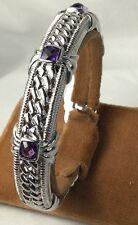 Judith Ripka Cuff Bracelet Sterling Purple Stones (c81)