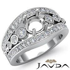 Diamond Engagement Ring 0.75Ct Round 18k White Gold Bezel Pave Set Semi Mount