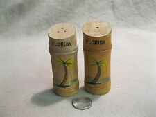 Vintage Bamboo Stalk Palm Tree Florida Souvenir Salt and Pepper Shakers       18