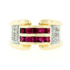 14K TT Gold 1.25ct Square Ruby & Single Cut Diamond 11.4mm Wide Buckle Band Ring