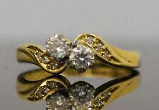 18Carat Yellow Gold (0.33 Carat) Diamond Two Stone Crossover Ring (Size J)