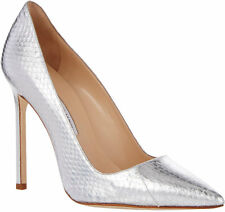 MANOLO BLAHNIK $935 Snakeskin BB Metallic Silver GORGEOUS Pump Shoes Size 39 NEW