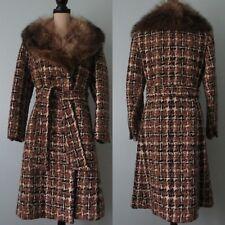 Vintage 1960 70s Kaiser'S Heidi Designer Plaid Fu 00004000 r Collar Wool Coat Mint!