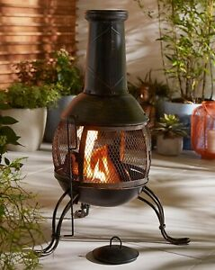 Medium Steel Chimenea Fire Pit - Bronze - Brand New In Box