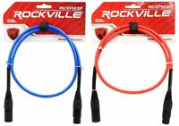 2 Rockville 3' Female to Male REAN XLR Mic Cable 100% Copper (Red and Blue)