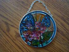 Butterfly Garden Blue Butterflies Pink Flowers Glass Suncatcher AMIA Studios 3.5