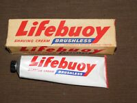 VINTAGE STORE BARBER 1952 LEVER BROS LIFEBUOY BRUSHLESS SHAVING CREAM IN BOX