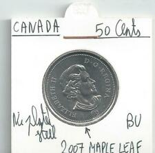 CANADA 50 CENTS 2007 MEAPLE LEAF  COIN FROM THE B.U. SET