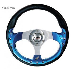 Simoni Racing Volante Estoril Universale Ecopelle Nera Inserti con Blu da 320 mm