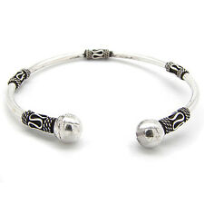Bali Style Sterling Silver Ball-Ends Cuff Bangle Bracelet