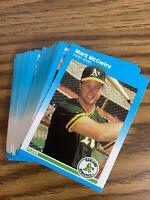 (50) Mark McGwire 1987 Fleer Rookie Card U76 NR-MT+ Oakland Athletics Lot