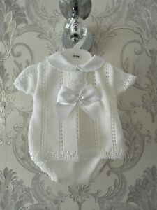 NEW BABY WHITE OUTFIT 2 PIECE ROMPER SPANISH STYLE JAM PANT FINE KNIT TOP 0-3M
