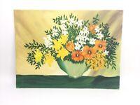 Flowers In Vase. 'Dersin' Original Acrylic Canvas Painting. 16x12