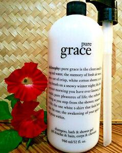 Philosophy PURE GRACE Shampoo Bath & Shower Gel 32 oz. & Pump - Factory Sealed