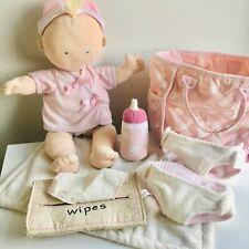 POTTERY BARN KIDS ABBY Baby Doll North American Bear Cloth Diaper Bag Lot Plush