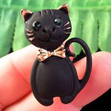 Geschnitzte tibetischen Gold Inlay Strass Katze Anhänger Perlen Brosche h46416