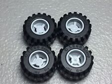 New Lego Light Bluish Gray Wheel 11mm x 12mm with Black Tire 21mm x 12mm (x4)