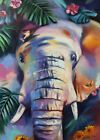 Colorful elephant painting Modern Multicolor animals art oil on canvas Elephant