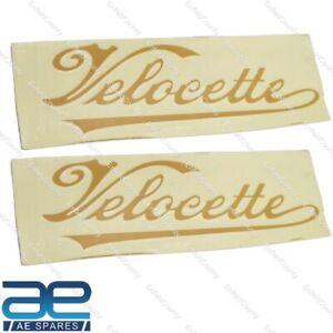 Velocette Petrol Gas Fuel Tank Logo Decal Sticker Pair Golden 150x45mm ECs