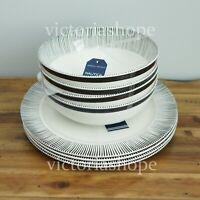 NEW NAUTICA Melamine Dinner Plates & Bowls ~ Set of 8 ~ Ivory White/Black Stripe