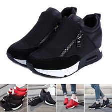 New Women Sneakers Zip Wedge Hidden Heel Running Sport Gym Casual Shoes Trainers