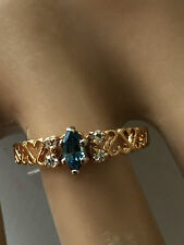 14K YELLOW GOLD SAPPHIRE RING W/ DIAMONDS SIZE 9 HEARTS ON BAND