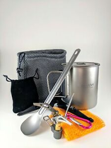 Titanium Ultralight Cook Kit Mess Kit Camping Backpacking Pot Stove Spoon Stand
