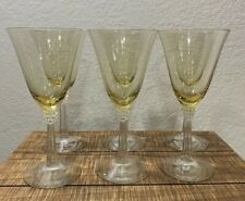 Set Of (6) Beautiful Yellow Wine Glasses. Clear Decorativw Stem. MINT CONDITION!