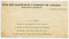 E.Harris, Sun Life Insurance Co. invitation to Canada Consul Shanghai China 1946