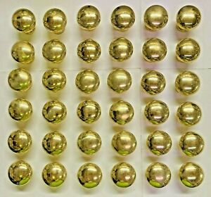 36 Polished Solid Brass, Round, Mushroom shaped Kitchen Cabinet Knobs 1 1/4 in.