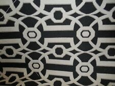BLACK  AND CREAM OFF WHITE WOVEN COTTON GEOMETRIC UPHOLSTERY  FABRIC