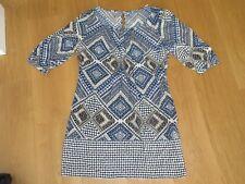 Ladies TU blue white pattern short sleeve dress, size 12