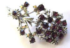 broche ancien bijou vintage couleur argent fleur cristaux couleur améthyste 3440