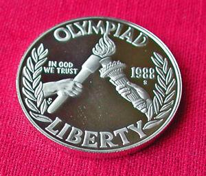 1988 Seoul Olympics proof silver commemorative dollar-box & COA