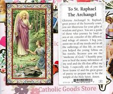 Saint St. Raphael with Prayer - Gold Trim  Paperstock Holy Card