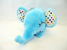 "3"" Light Blue Baby Elephant Polka Dot Ear Stuffed Animal Soft Plush Keychain New"