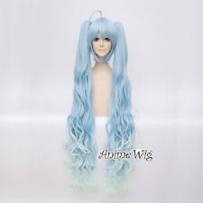 Mixed Light Blue 30CM Short Anime Cosplay Wig +Two 105CM Ponytails VOCALOID MIKU