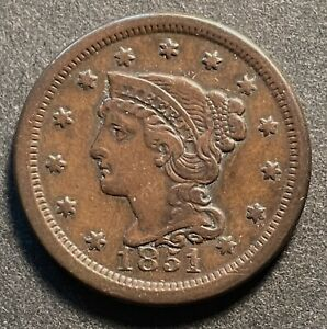 NICE 1851 BRAIDED HAIR LARGE CENT    FREE US SHIPPING