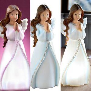 Deko Figur Engel Beleuchtet Weihnachtsdeko Engelchen Weiß Blau Engelsfigur 28cm