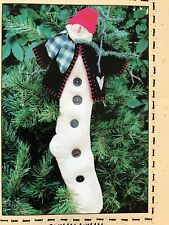 """PRIMITIVE SNOWMAN RAG DOLL STOCKING SEWING PATTERN CRAFTS, 22"""""""