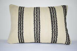 Natural Handmade Kilim Pillow Cushion Cover - Large Turkish Anatolian 16''x24''