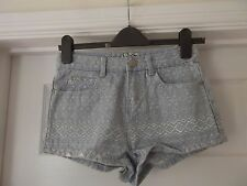 Size 8 Blue Denim Shorts/Hotpants by Miss Denim with Aztec Print Embroidery