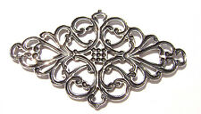 1748 Antiqued Brass Sterling Silver Filigree Diamond Centerpiece Component Charm