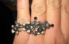 Stile vintage tre BRONZO FIORI Double Finger Ring