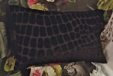 DESIGNERS GUILD NABUCCO FABRIC VELVET CUSHION BOLSTER PILLOW COVER NOIR 19x12""