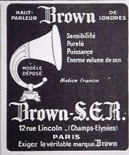 PUBLICITÉ HAUT PARLEUR BROWN DE LONDRES SENSIBILITÉ PURETÉ PUISSANCE DE VOLUME